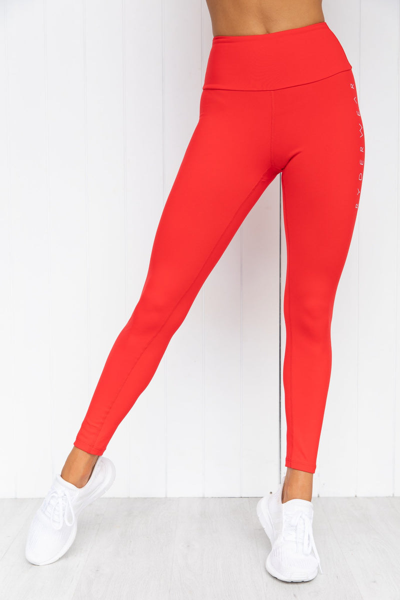 Staples Scrunch Bum Leggings - Red - PURE DASH