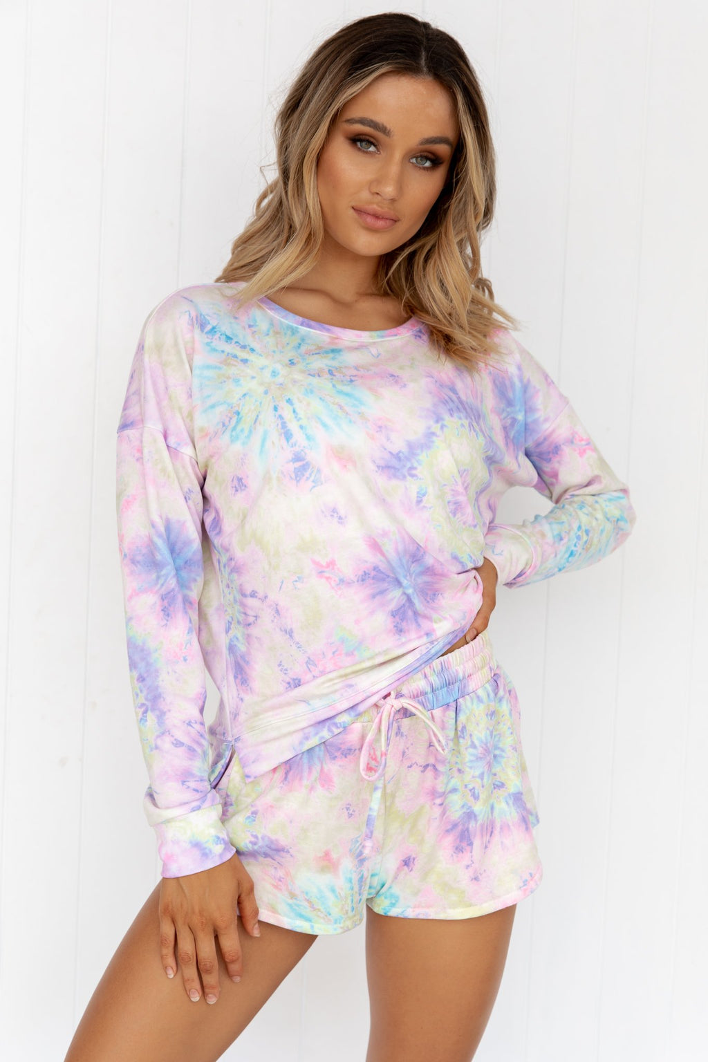 High Low Sweater - Neon Tie Dye