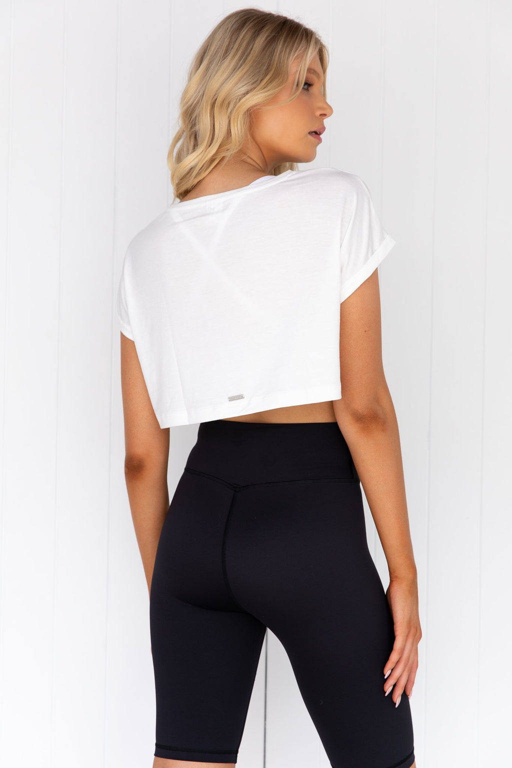 White Roll Sleeve Crop Top
