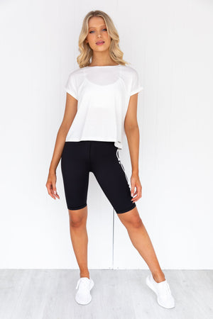 White Roll Sleeve Top