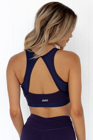 Ultimate Wrap Sports Bra - Navy - PURE DASH