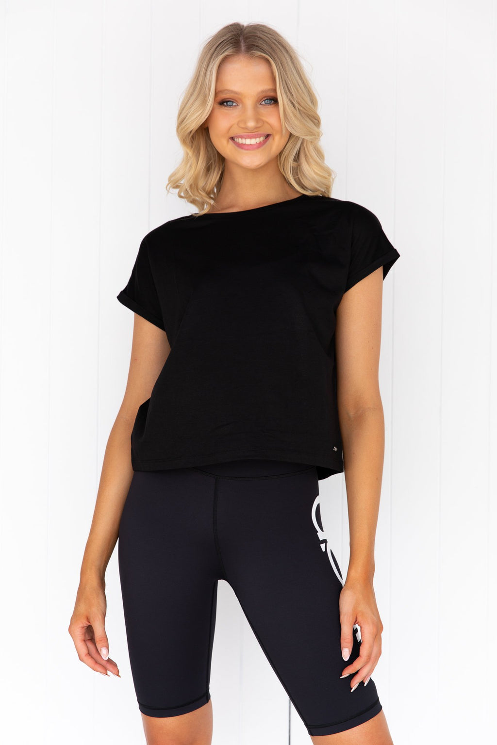 Black Roll Sleeve Top