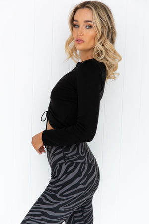 Dynamite Ruched Top - Black