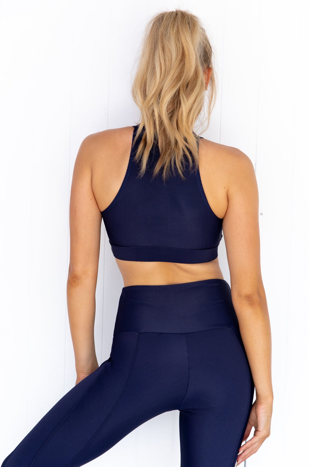 High Neck Rib Crop - Marine Navy