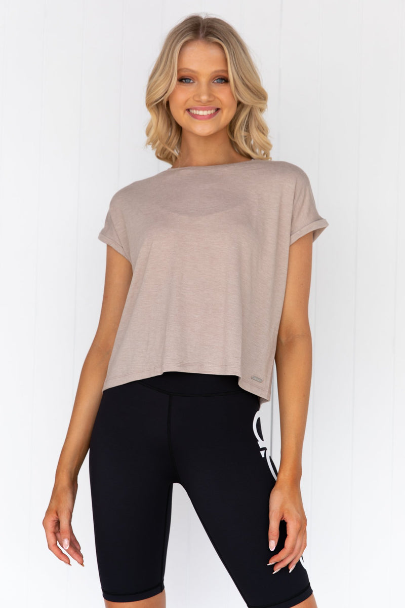 Espresso Melange Roll Sleeve Top