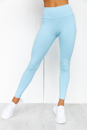 Staples Scrunch Bum Leggings - Sky Blue - PURE DASH