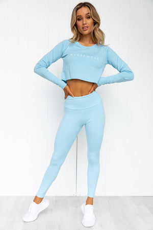 Staples Cropped Sweater - Sky Blue - PURE DASH
