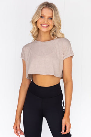 Espresso Melange Roll Sleeve Crop Top