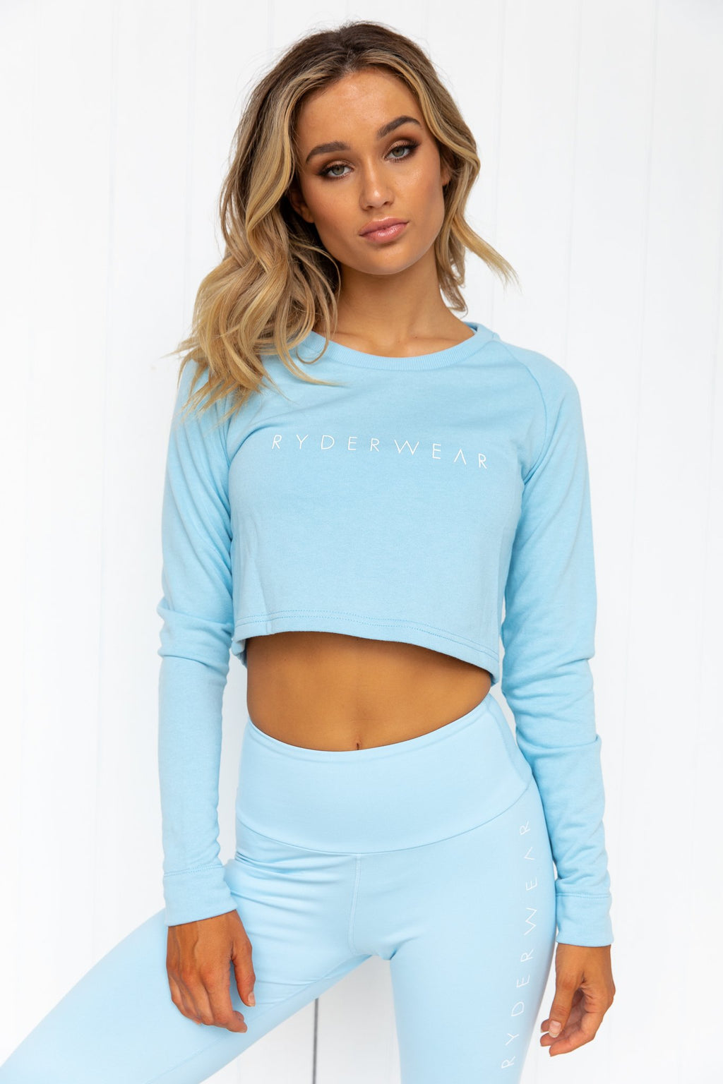 Staples Cropped Sweater - Sky Blue