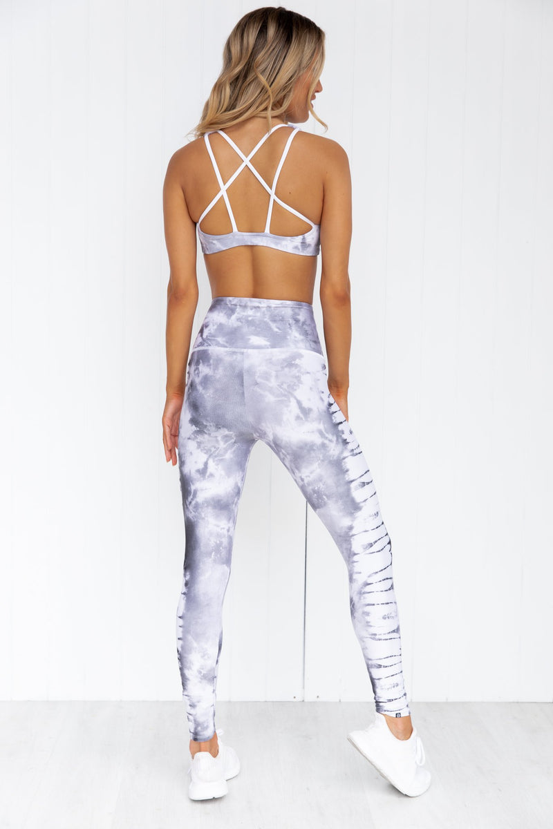High Rise Midi Legging - Gray Tie Dye