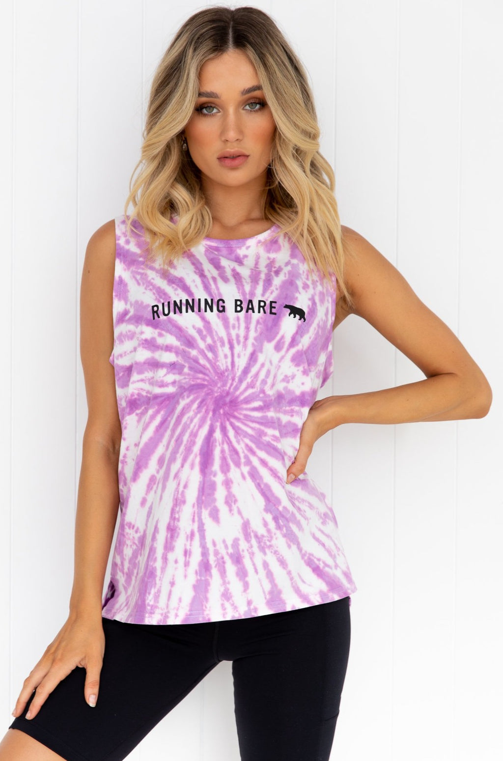 Running Bare Easy Rider Muscle Tank - Mauve Tie Dye