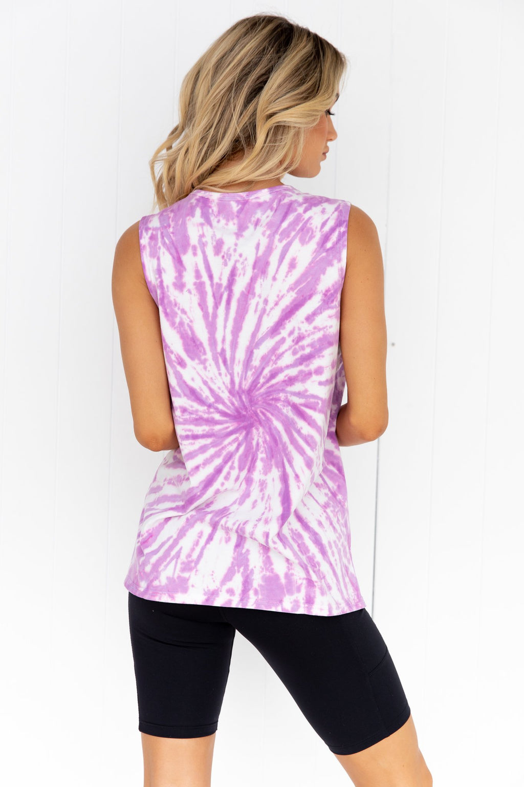 Running Bare Easy Rider Muscle Tank - Mauve Tie Dye - back