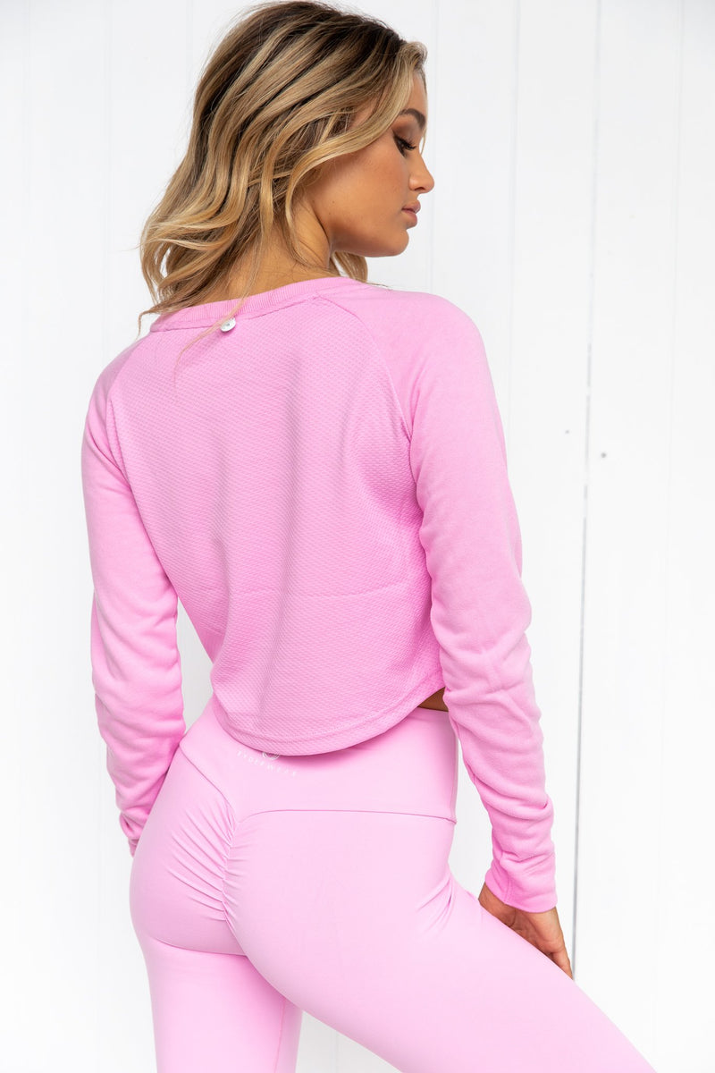 Staples Cropped Sweater - Pink - PURE DASH