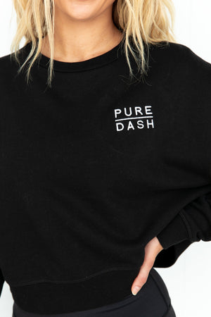 Baseline Cropped Sweater - Black Pure Dash