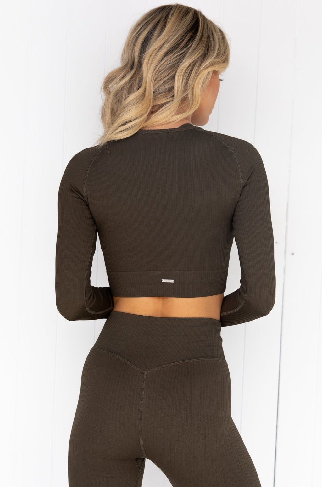 Khaki Ribbed Seamless Crop Long Sleeve
