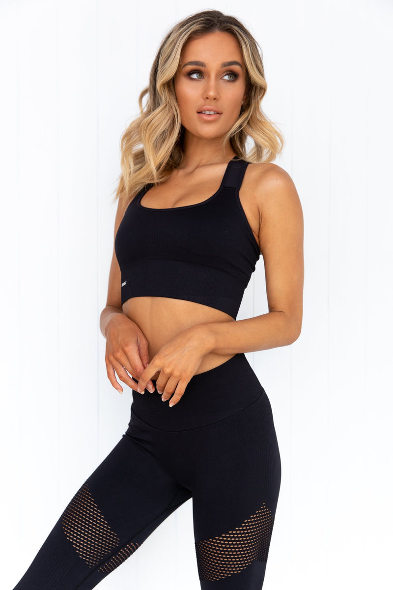 Black High Support Ribbed Bra - PURE DASH