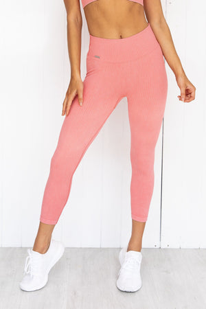Bubblegum Washed Ribbed Seamless 7/8 Tights