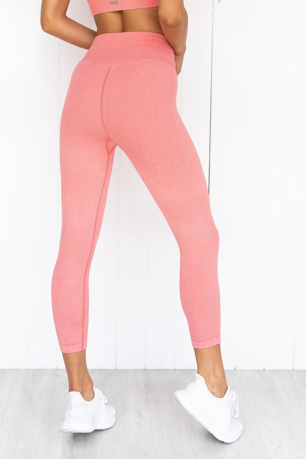 Bubblegum Washed Ribbed Seamless 7/8 Tights | Pure Dash