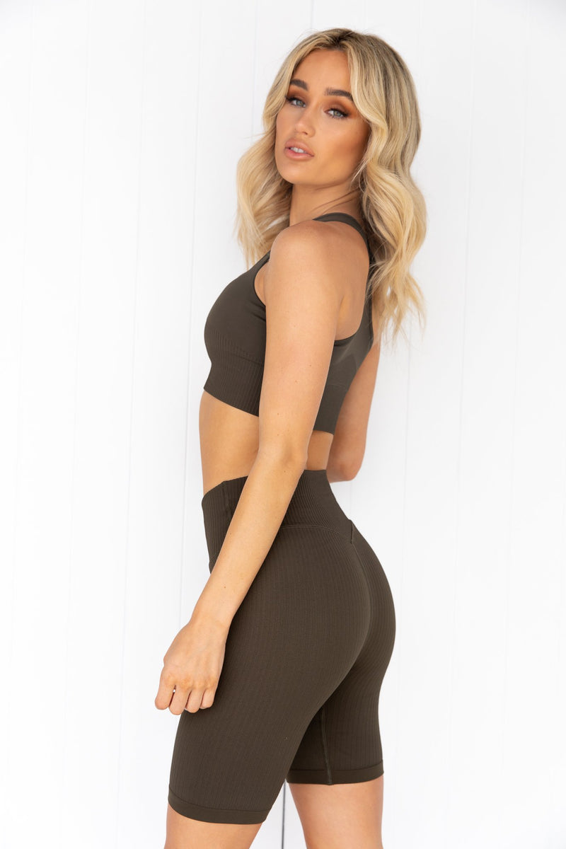 Khaki High Support Ribbed Bra