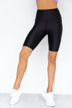 Black Running Bare Power Moves Bike Tights with side pockets