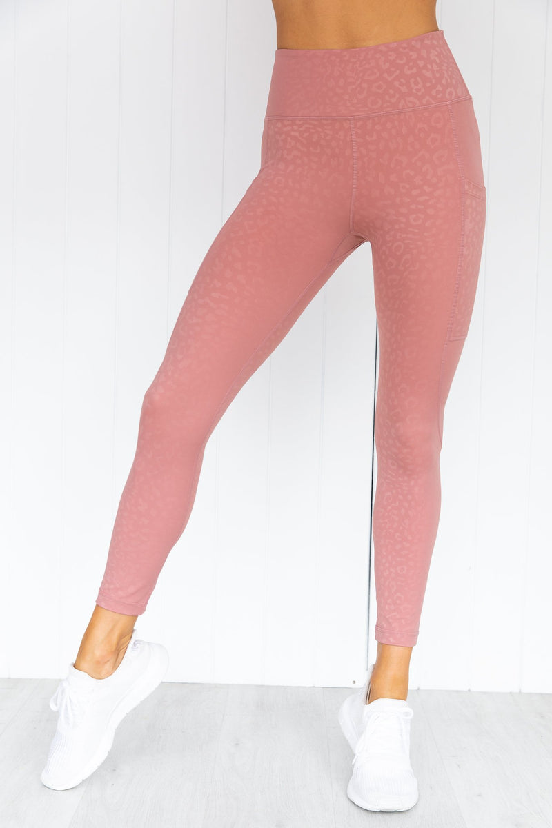 Allure Leopard 7/8 Legging - Dusty Rose