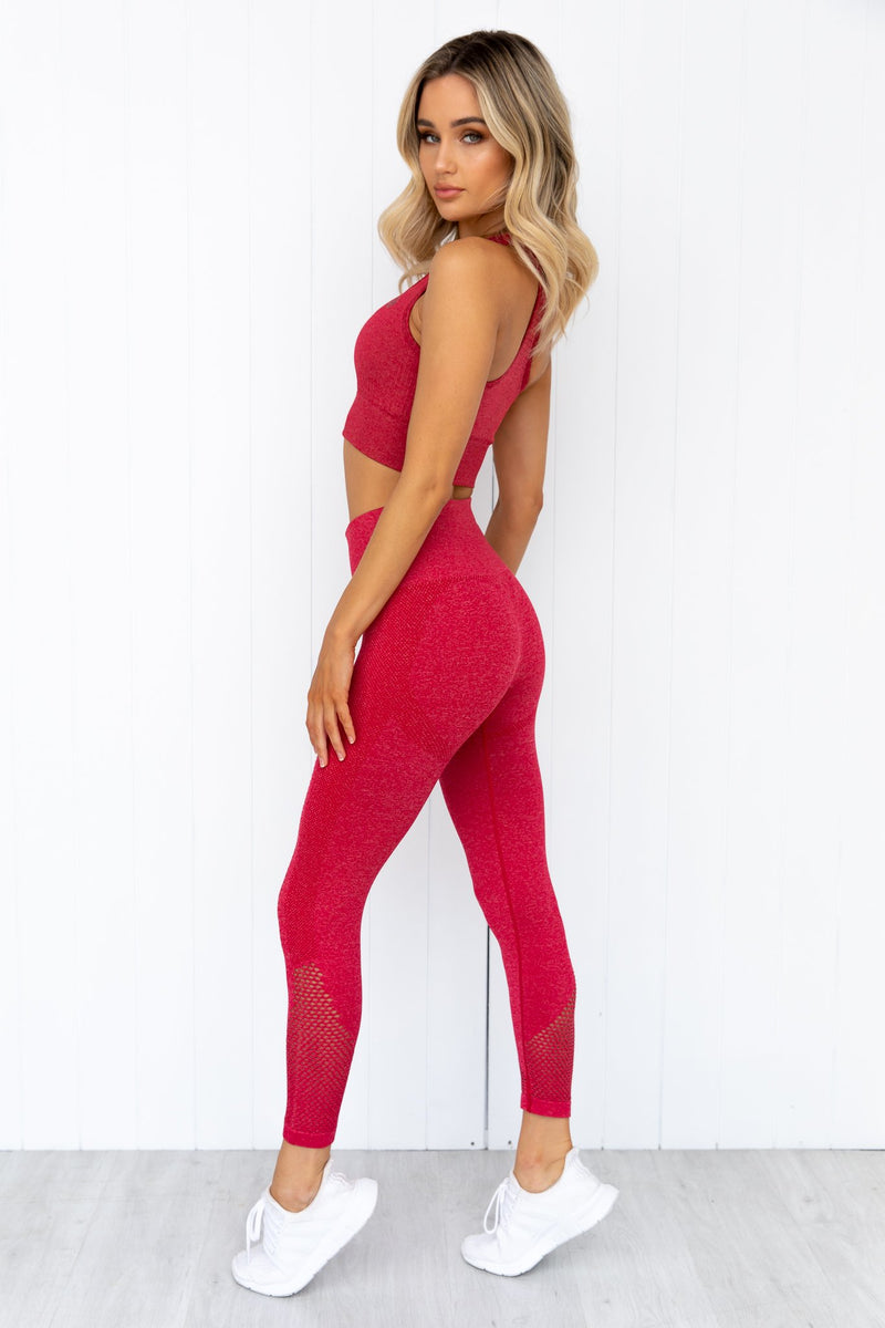 Seamless Staples Leggings - Cherry Red Marl