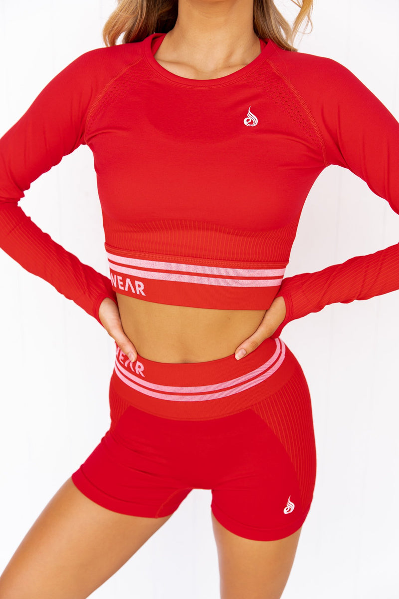Freestyle Seamless Long Sleeve Crop - Red - PURE DASH