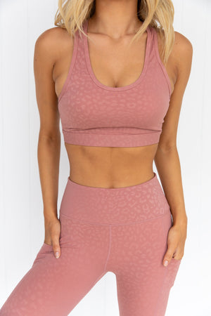 Allure Leopard Crop - Dusty Rose