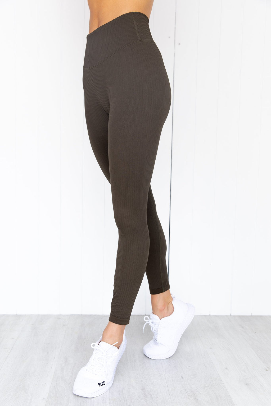 Khaki Ribbed Seamless Tights