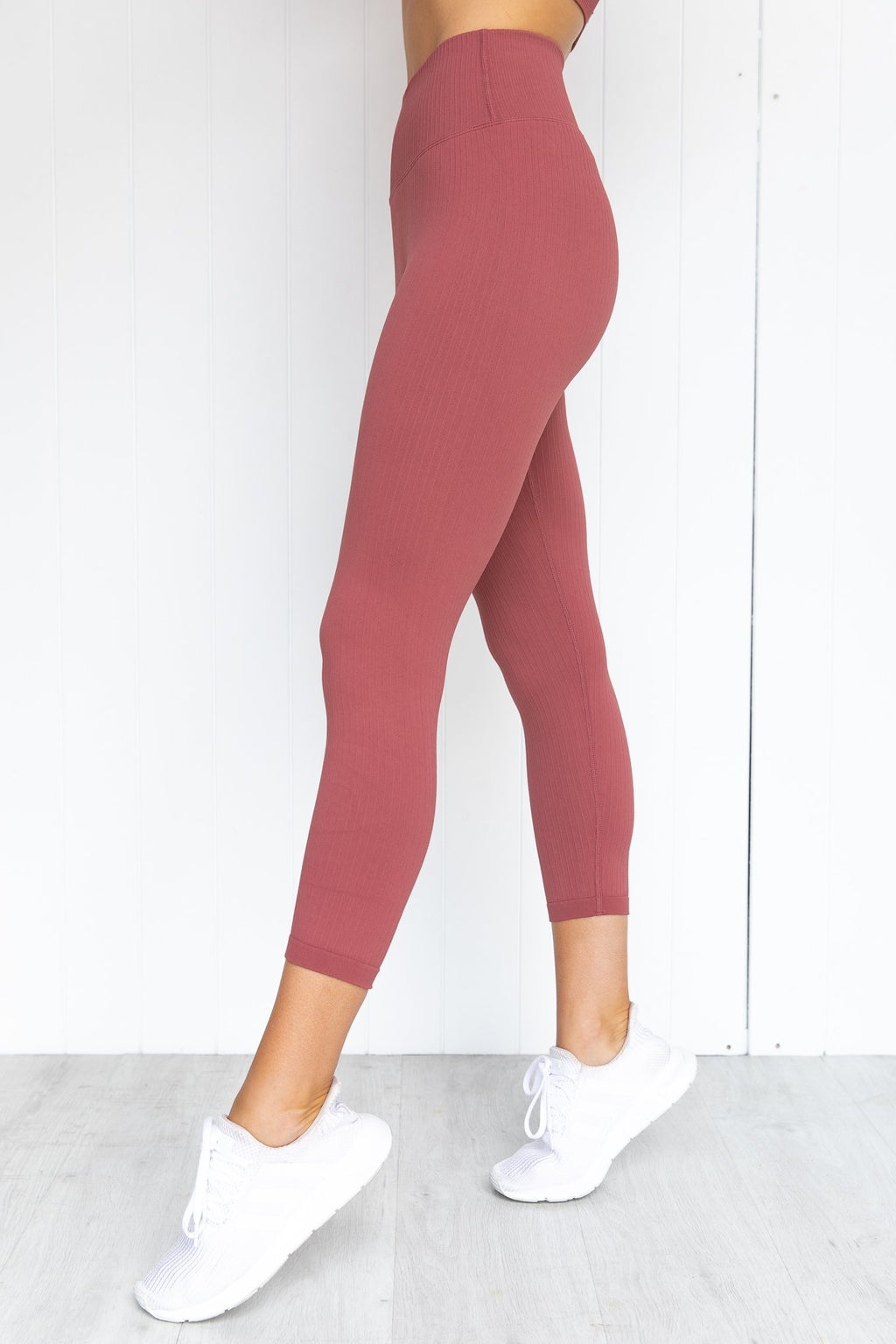 Pink Beat Ribbed Seamless 7/8 Tights