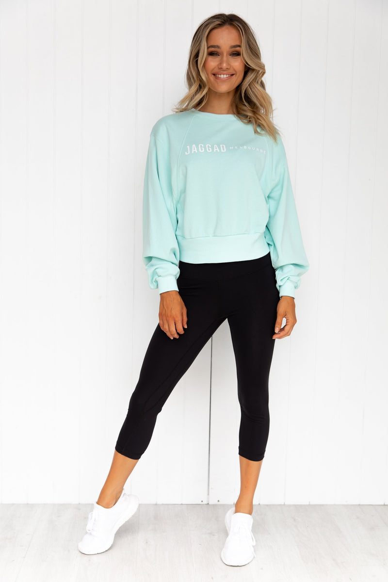 Aqua Oversized Crop Sweater - PURE DASH
