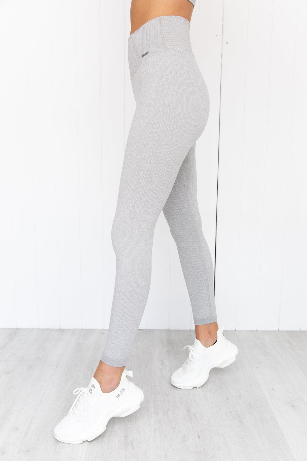 Light Grey Melange Ribbed Seamless Tights