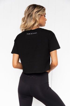 TEAM Pure Dash Cropped Tee - Black - PURE DASH