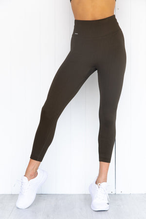 Khaki Ribbed Seamless 7/8 Tights