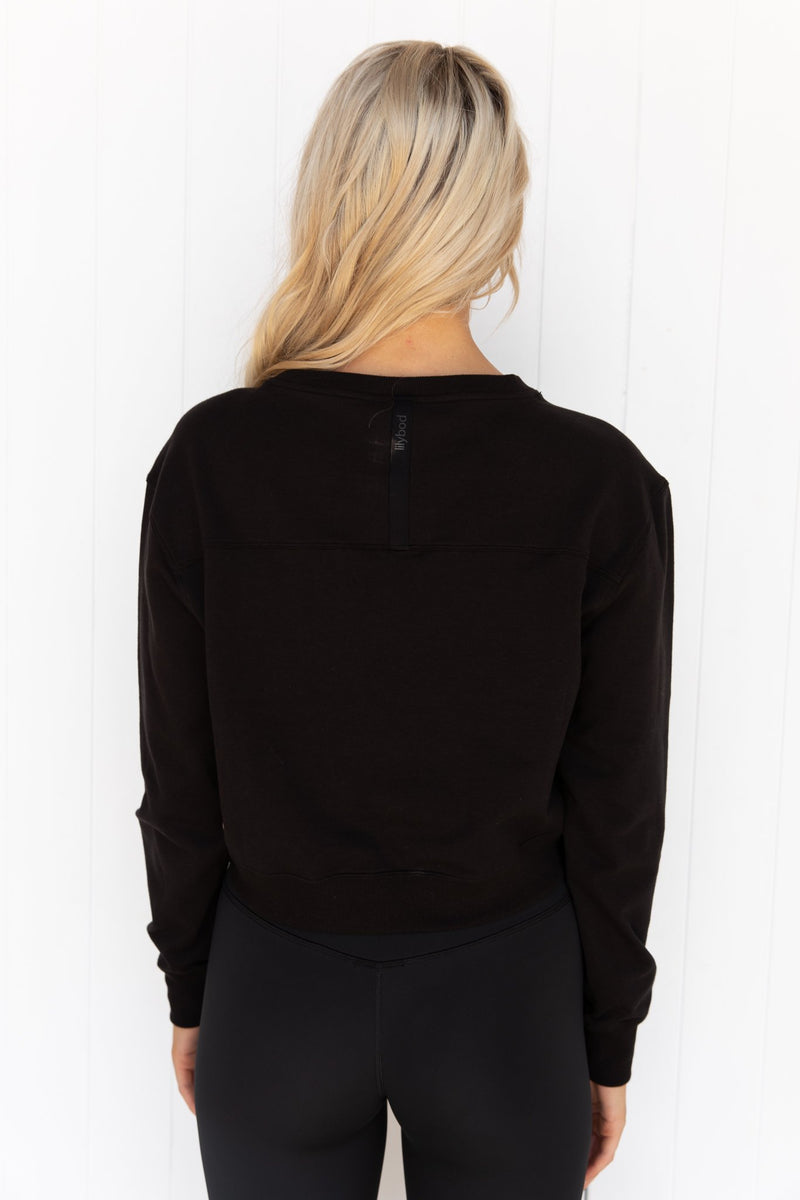 Suzy Graphite Black Twist Front French Terry Crew - PURE DASH