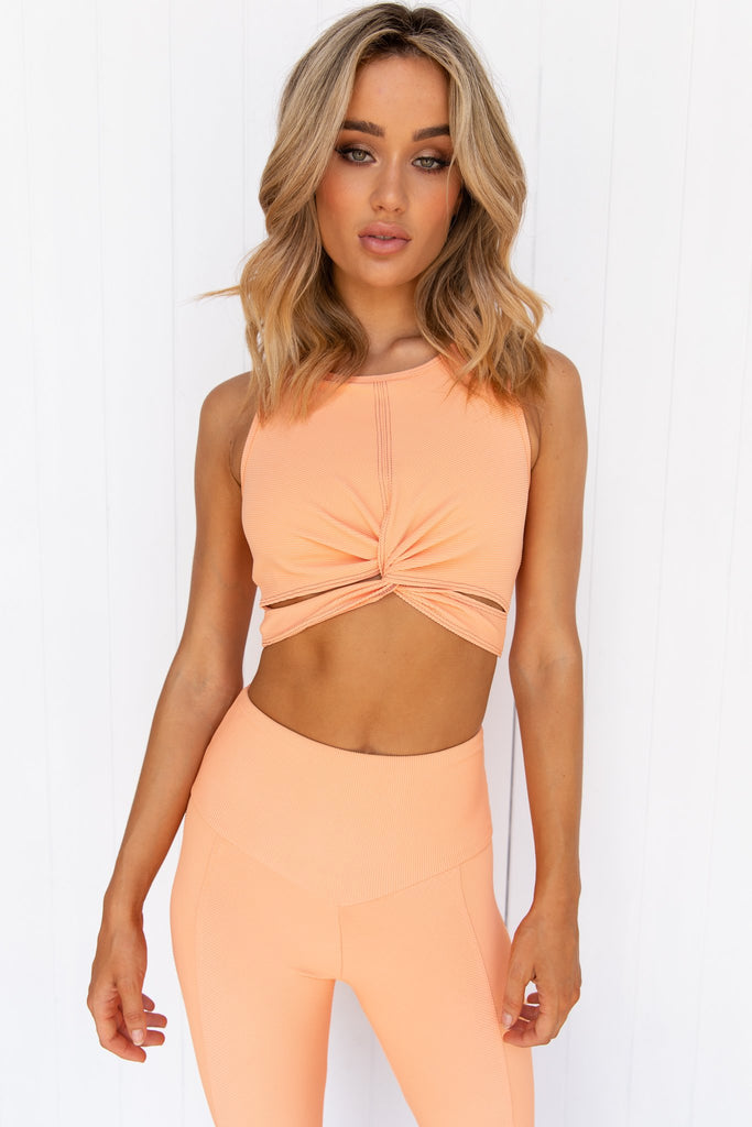 Cantalope Rib Twist Crop - PURE DASH
