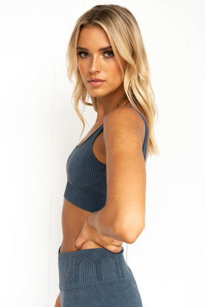 Ocean Washed Ribbed Seamless Bra - PURE DASH