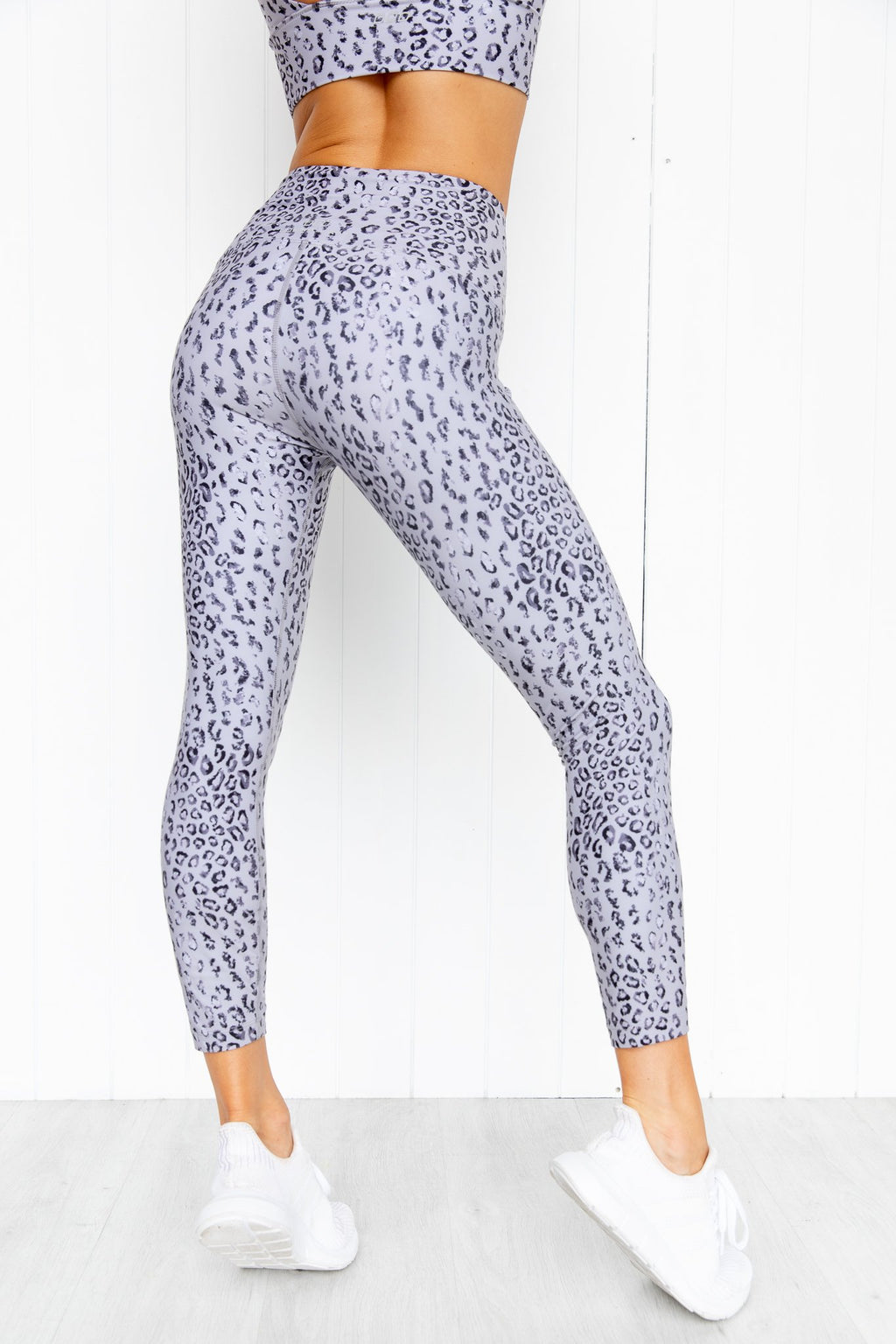 Wild Leopard Ankle Biter Tights - Grey Leopard - PURE DASH
