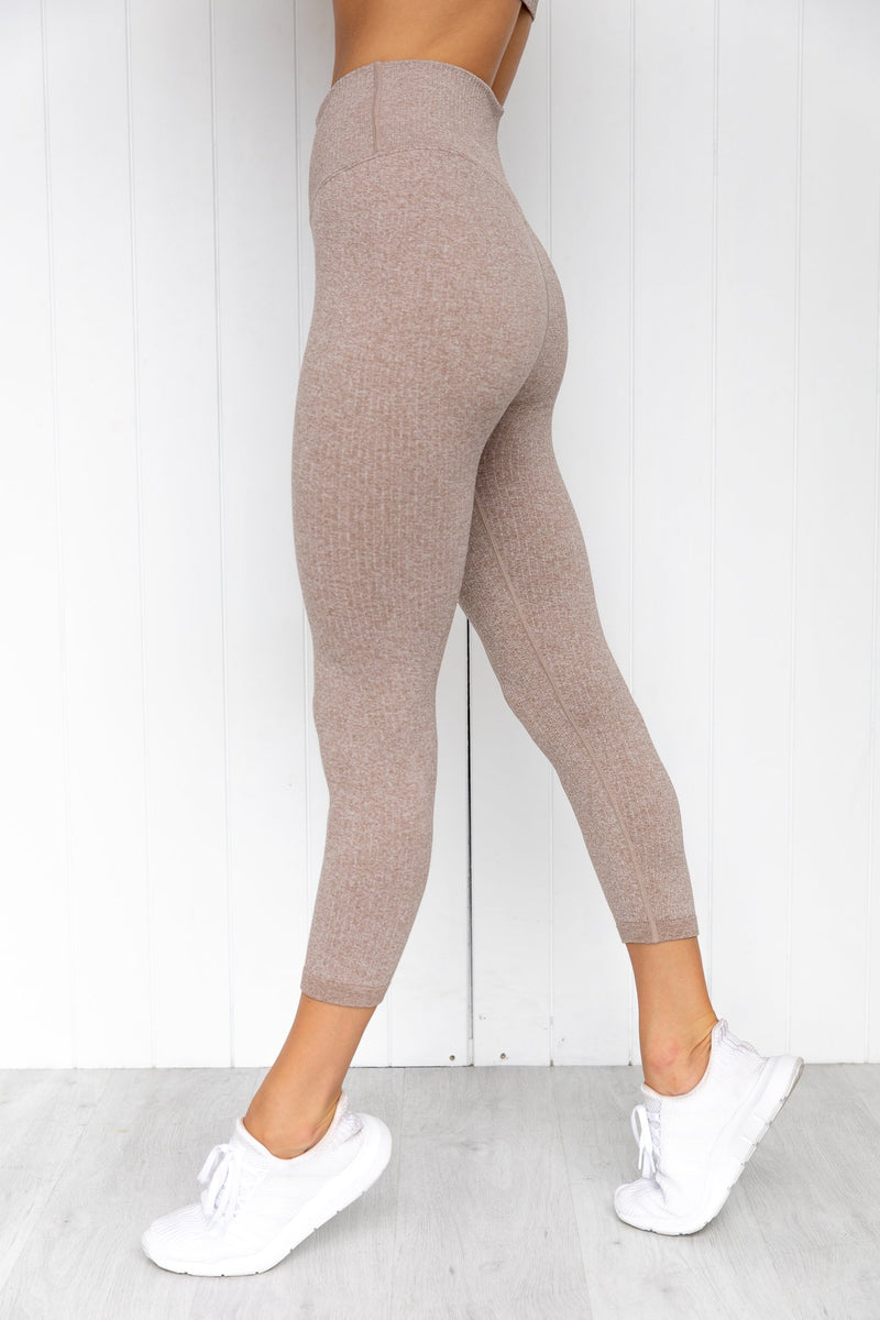 Latte Ribbed Seamless 7/8 Tights - PURE DASH
