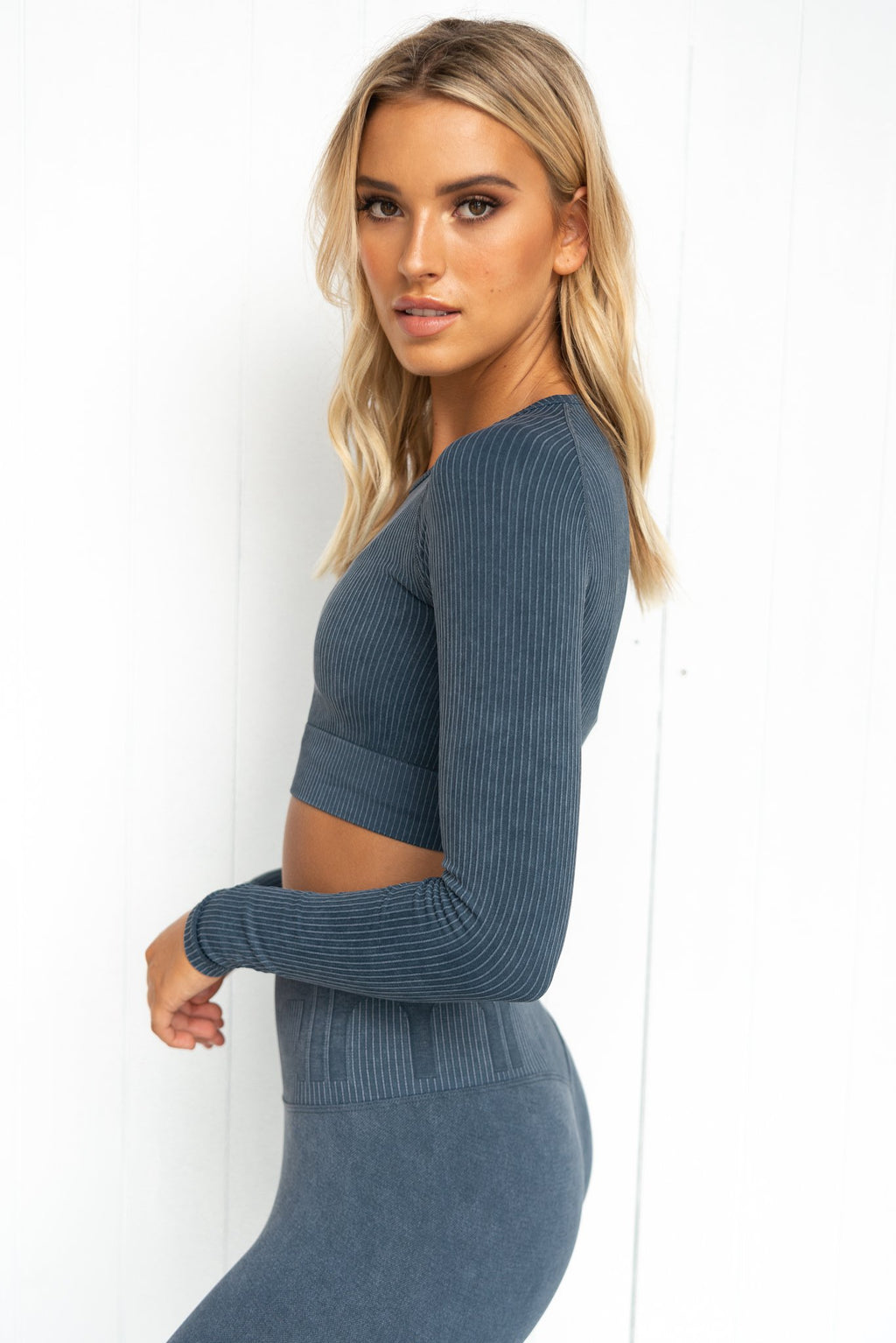 Ocean Washed Ribbed Seamless Long Sleeve - PURE DASH