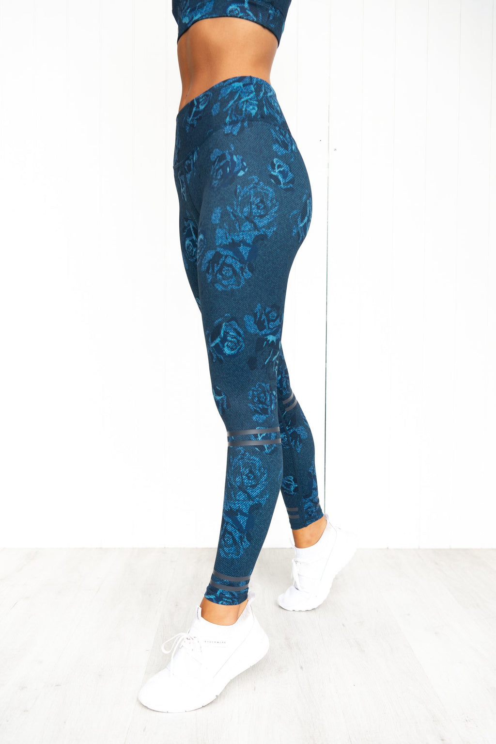India Denim Floral Leggings - PURE DASH