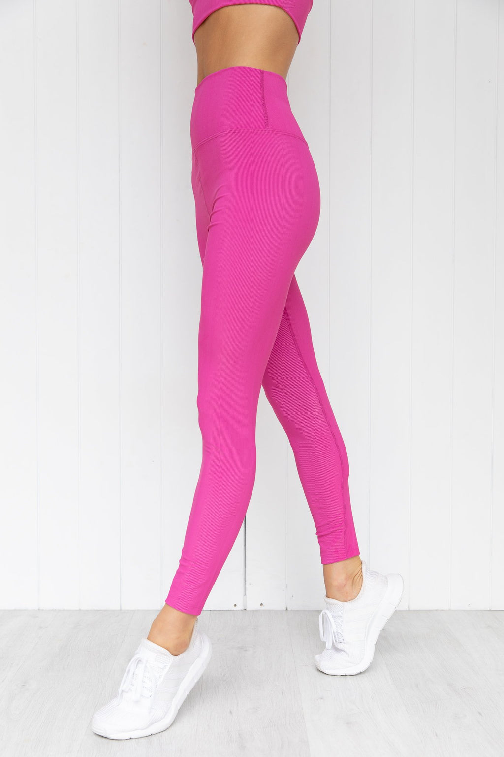 Ribbed High Waist Leggings - Hot Pink - PURE DASH