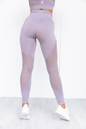 Geo Seamless High Waisted Leggings - Mauve - PURE DASH