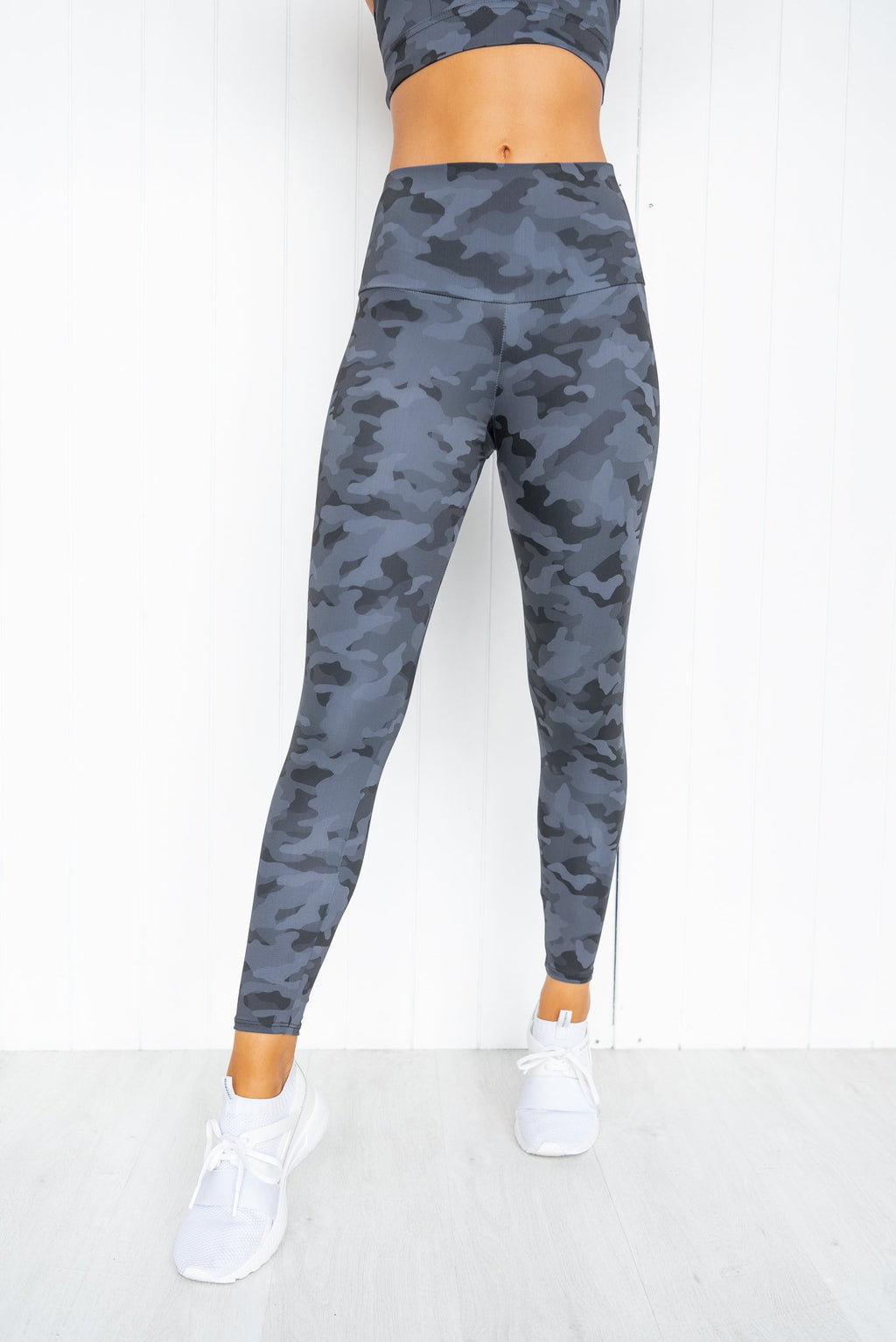 Black Gray Camo High Rise Midi Legging - PURE DASH