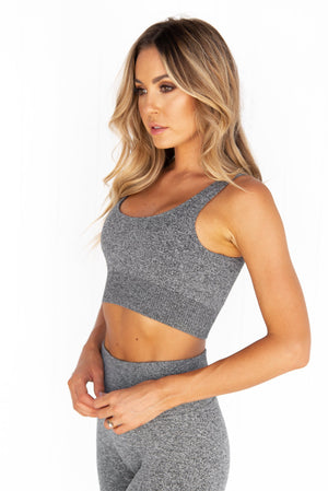 Grey Melange Ribbed Seamless Bra - PURE DASH