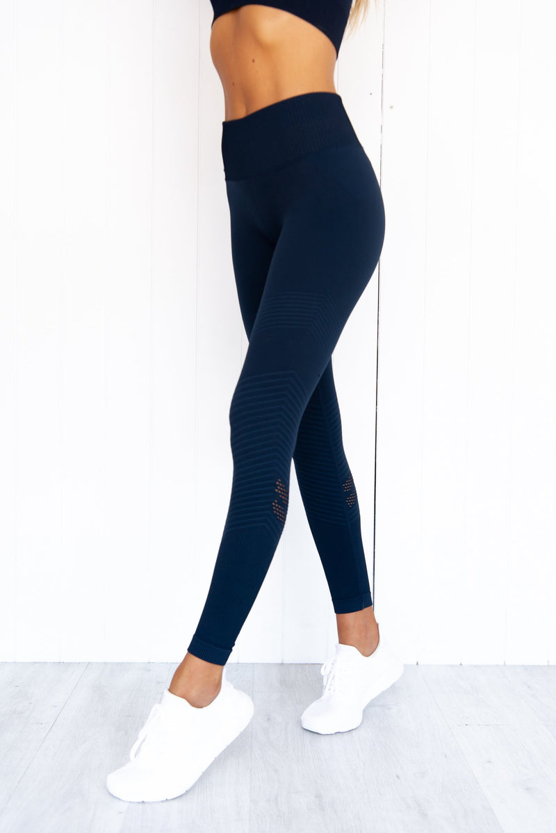 Navy Elevate Seamless Tights - PURE DASH