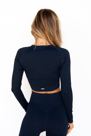 Navy Ribbed Seamless Long Sleeve - PURE DASH