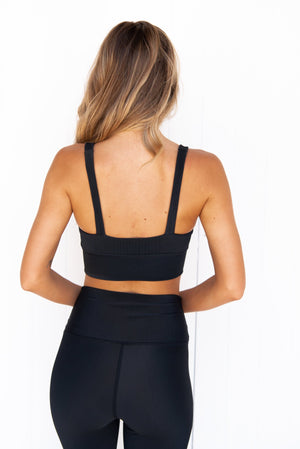 Leah Ribbed Crop - Black - PURE DASH