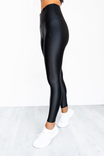 Wet Look High Waist Leggings - PURE DASH