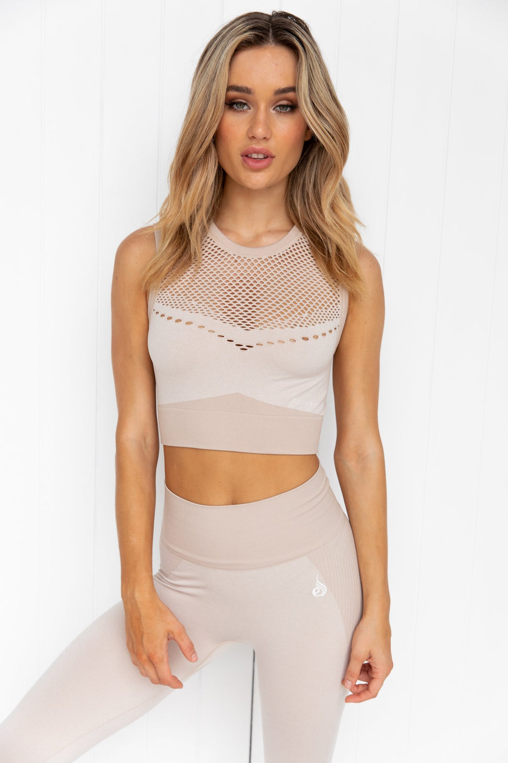 Oasis Seamless Crop Top - Off White Sand - PURE DASH